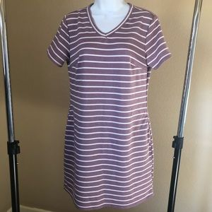 Purple & White Striped Dress